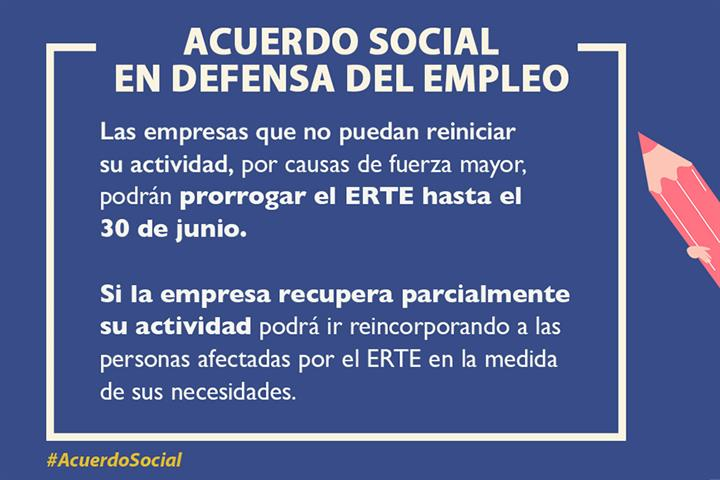 El Gobierno prorroga los ERTE por fuerza mayor hasta el 30 de junio