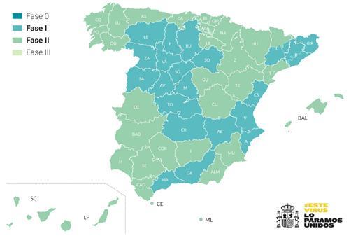 Mapa de provincias y zonas de salud en fase 1 y fase 2 a partir del 25 de mayo