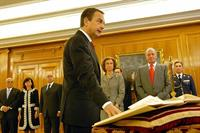 12/04/2008. 37Ninth Legislature (1). José Luis Rodríguez Zapatero takes the oath of office as President of the Government.