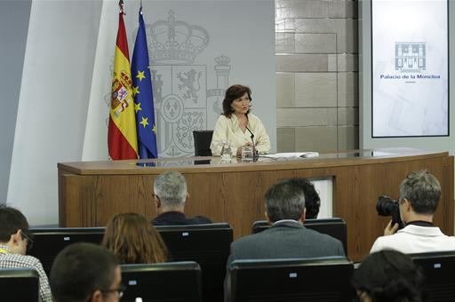 Carmen Calvo after the Council os Ministers
