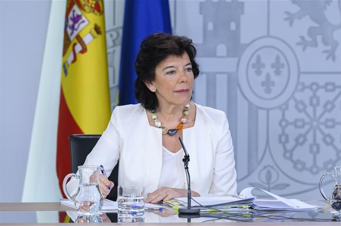 9/08/2019. Consejo de Ministros: Celaá y Valerio. La ministra de Educación y Formación Profesional y portavoz del Gobierno en funciones, Isa...