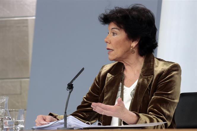 20/12/2019. Isabel Celaá durante la rueda de prensa del Consejo de Ministros. La ministra de Educación y Formación Profesional y portavoz de...