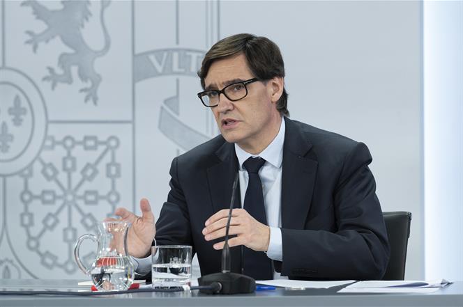 2/06/2020. Consejo de Ministros: Montero, Ribera e Illa. El ministro de Sanidad, Salvador Illa, durante su intervención, en la rueda de pren...