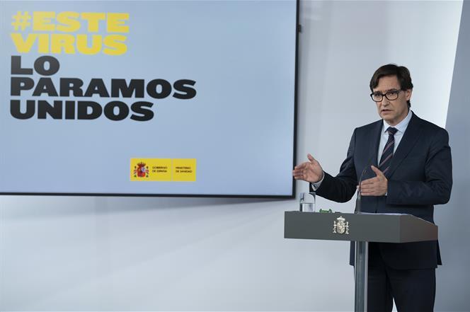 5/05/2020. Consejo de Ministros: Montero, Illa y Uribes. El ministro de Sanidad, Salvador Illa, durante su intervención, en la rueda de pren...