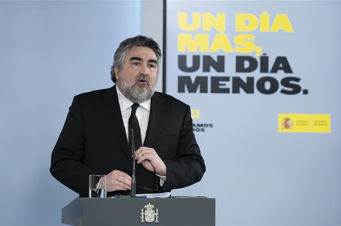 5/05/2020. Consejo de Ministros: Montero, Illa y Uribes. El ministro de Cultura y Deporte, José Manuel Rodríguez Uribes, durante su interven...