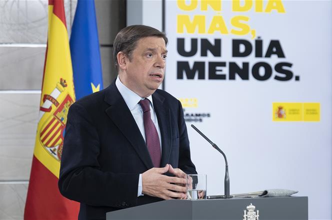 7/04/2020. Consejo de Ministros: María Jesús Montero y Luis Planas. El ministro de Agricultura, Pesca y Alimentación, Luis Planas, durante s...