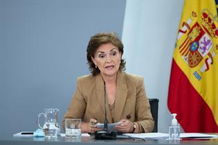 La vicepresidenta primera del Gobierno, Carmen Calvo, durante la rueda de prensa
