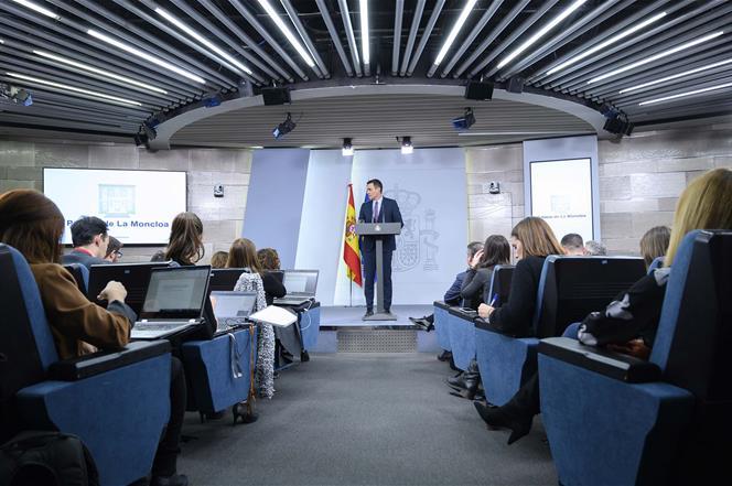 14/01/2020. Consejo de Ministros: Sánchez. El presidente del Gobierno, Pedro Sánchez, durante su comparecencia ante los medios de comunicaci...