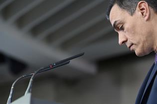 El presidente del Gobierno, Pedro Sánchez, durante la rueda de prensa
