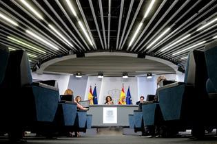 Sala de prensa durante las comparecencias tras el Consejo de Ministros