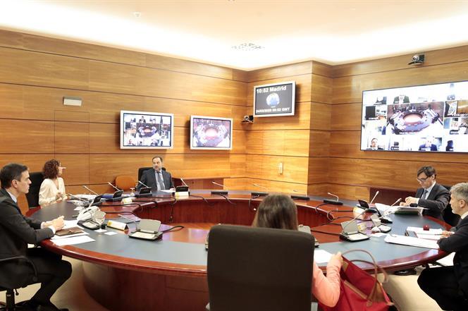 24/03/2020. Consejo de Ministros. El jefe del Ejecutivo, Pedro Sánchez, preside la reunión del Consejo de Ministros, a la que han asistido l...
