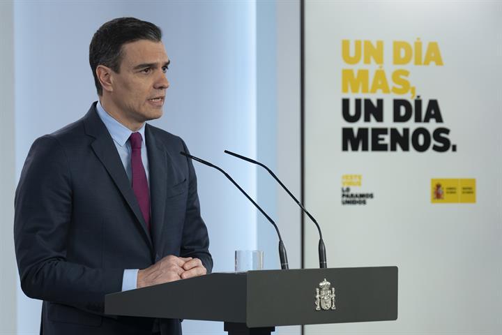 El presidente del Gobierno, Pedro Sánchez, durante la rueda de prensa posterior al Consejo de Ministros