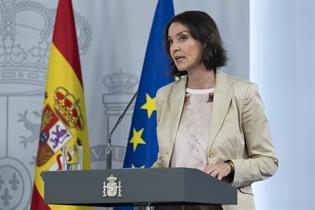 Reyes Maroto durante su intervención en la rueda de prensa posterior al Consejo de Ministros