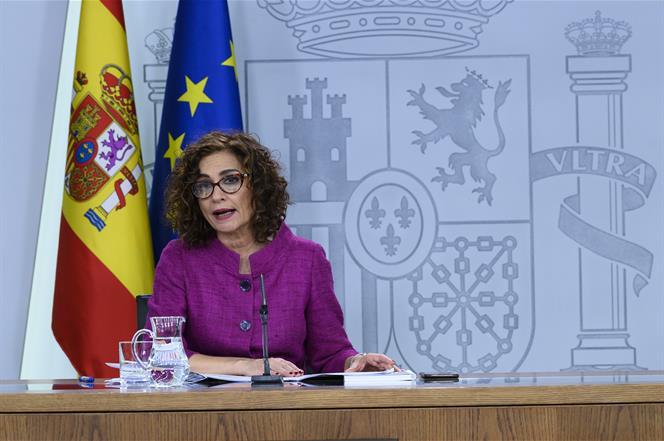 28/01/2020. Consejo de Ministros: María Jesús Montero. La portavoz del Gobierno y ministra de Hacienda, María Jesús Montero, durante su inte...