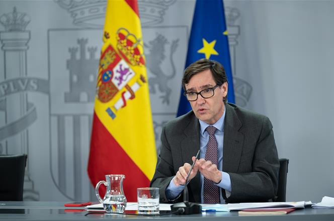 28/07/2020. Consejo de Ministros: Montero, Calviño e Illa. El ministro de Sanidad, Salvador Illa, durante su intervención en la rueda de pre...