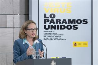 Nadia Calviño durante su comparecencia