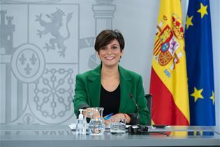 La ministra de Política Territorial y portavoz del Gobierno, Isabel Rodríguez, en la rueda de prensa posterior al Consejo