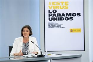 Reyes Maroto durante su intervención en la rueda de prensa posterior al Consejo