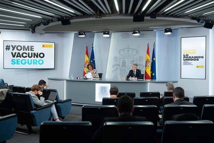María Jesús Montero y Fernando Grande Marlaska durante la rueda de prensa posterior al Consejo de Ministros