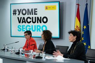 Arancha González Laya, María Jesús Montero e Isabel Celaá durante la rueda de prensa posterior al Consejo de Ministros
