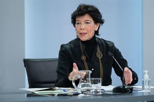 Isabel Celaá durante su intervención en la rueda de prensa posterior al Consejo de Ministros