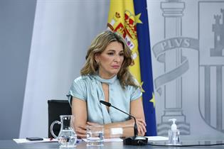 Yolanda Díaz durante su intervención en la rueda de prensa posterior al Consejo de Ministros