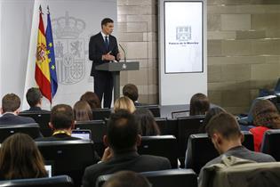 El presidente del Gobierno, Pedro Sánchez, durante su comparecencia en La Moncloa (Foto: Pool Moncloa)