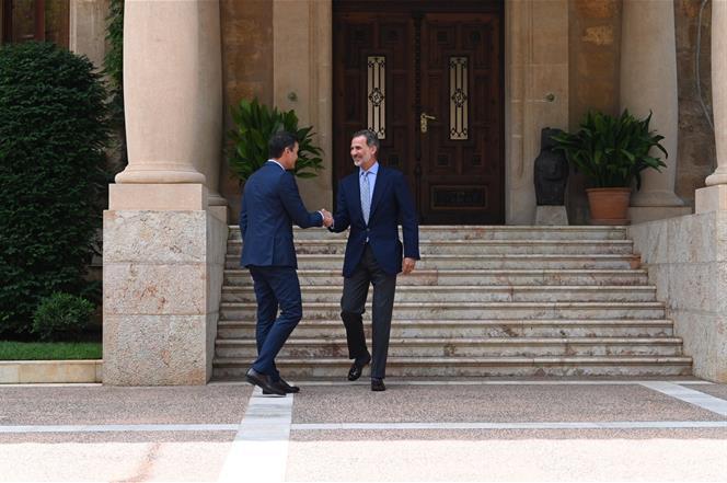 7/08/2019. Despacho de Pedro Sánchez con Felipe VI. El presidente del Gobierno en funciones, Pedro Sánchez, es recibido por el rey Felipe VI...
