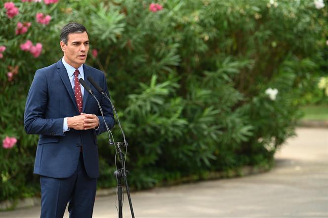 7/08/2019. Despacho de Pedro Sánchez con Felipe VI. El presidente del Gobierno en funciones, Pedro Sánchez, atiende a los medios de comunica...