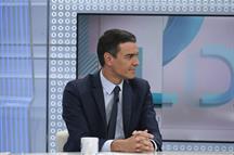 Pedro Sánchez durante su entrevista con Xavier Fortes