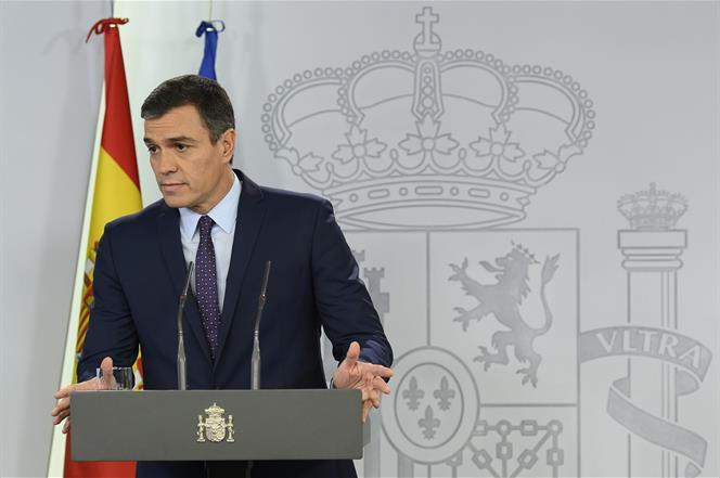 14/10/2019. Comparecencia institucional de Pedro Sánchez. El presidente del Gobierno en funciones, Pedro Sánchez, comparece ante los medios ...