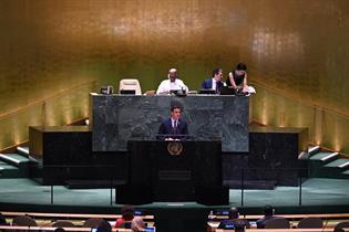 El presidente del Gobierno en funciones, Pedro Sánchez, interviene en la Asamblea General de la ONU