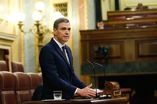 El presidente del Gobierno, Pedro Sánchez, durante su intervención en el Congreso de los Diputados