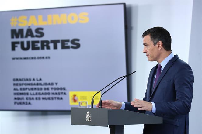 4/08/2020. Comparecencia del presidente del Gobierno, Pedro Sánchez. El presidente del Gobierno, Pedro Sánchez, durante la rueda de prensa e...