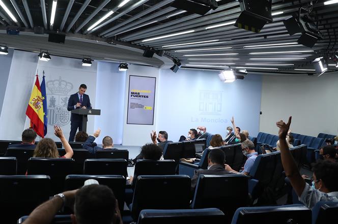 4/08/2020. Comparecencia del presidente del Gobierno, Pedro Sánchez. El presidente del Gobierno, Pedro Sánchez, responde a las preguntas de ...