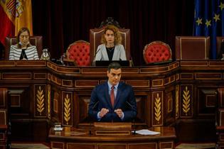 El presidente del Gobierno, Pedro Sánchez, durante su intervención ante el Pleno del Congreso