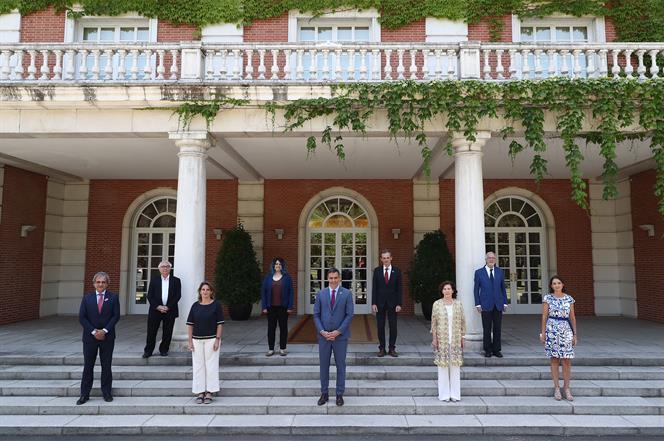 9/07/2020. Sánchez presenta el Plan de choque por la Ciencia y la Innovación. El presidente del Gobierno, Pedro Sánchez, junto a la la vicep...