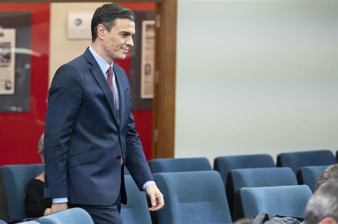 10/03/2020. Comparecencia de Sánchez tras la reunión extraordinaria del Consejo Europeo, celebrada por videoconferencia. El presidente del G...