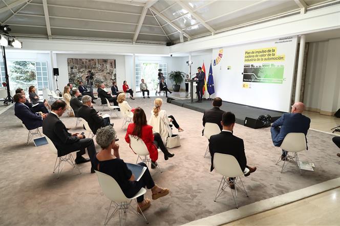 15/06/2020. Pedro Sánchez en la presentación del Plan de Impulso a la cadena de valor de la Industria de la Automoción. El presidente del Go...