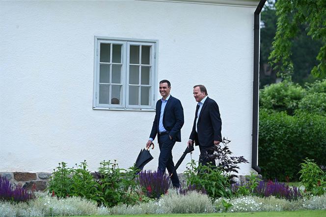 15/07/2020. El presidente del Gobierno, Pedro Sánchez, se reúne con el primer ministro de Suecia, Stefan Löfven. Paseo de presidente del Gob...
