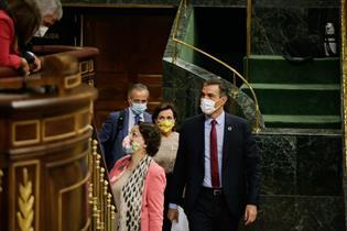 El presidente del Gobierno, Pedro Sánchez, durante la sesión de control en el Congreso