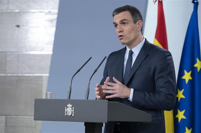 22/03/2020. Rueda de prensa de Pedro Sánchez tras su videoconferencia con los presidentes autonómicos. El presidente del Gobierno, Pedro Sán...