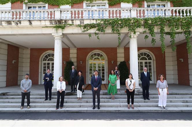 22/07/2020. Sánchez presenta el Plan de Modernización de FP. El presidente del Gobierno Pedro, Sánchez, junto a los asistentes a la presenta...
