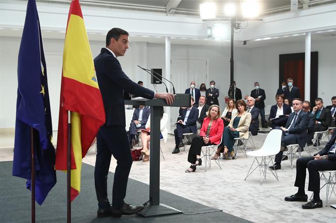 23/07/2020. Pedro Sánchez preside la presentación de 'España Digital 2025'. El presidente del Gobierno, Pedro Sánchez, durante su intervención.