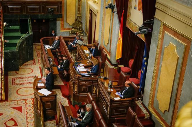 26/03/2020. El presidente Sánchez en el Congreso de los Diputados. El presidente del Gobierno, Pedro Sánchez, durante el Pleno del Congreso ...