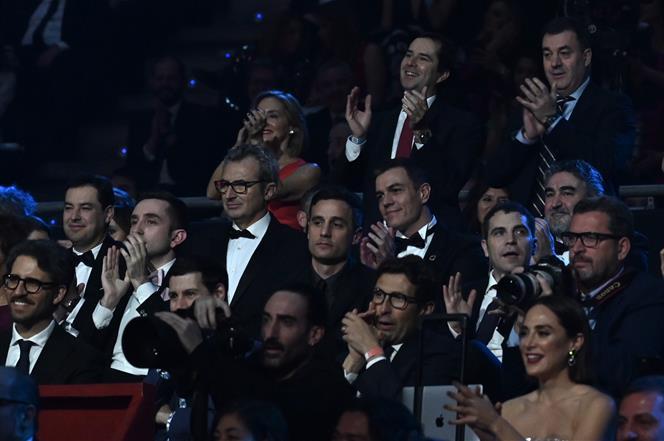 25/01/2020. Pedro Sánchez asiste a la 34 edición de los Premios Goya. El presidente del Gobierno, Pedro Sánchez, entre el público asistente,...