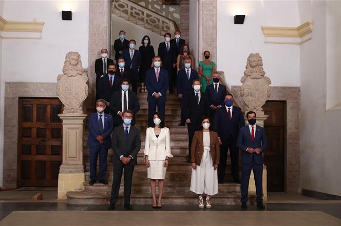 31/07/2020. Pedro Sánchez preside la XXI Conferencia de Presidentes. El rey Felipe VI, el presidente del Gobierno, Pedro Sánchez, y los pres...