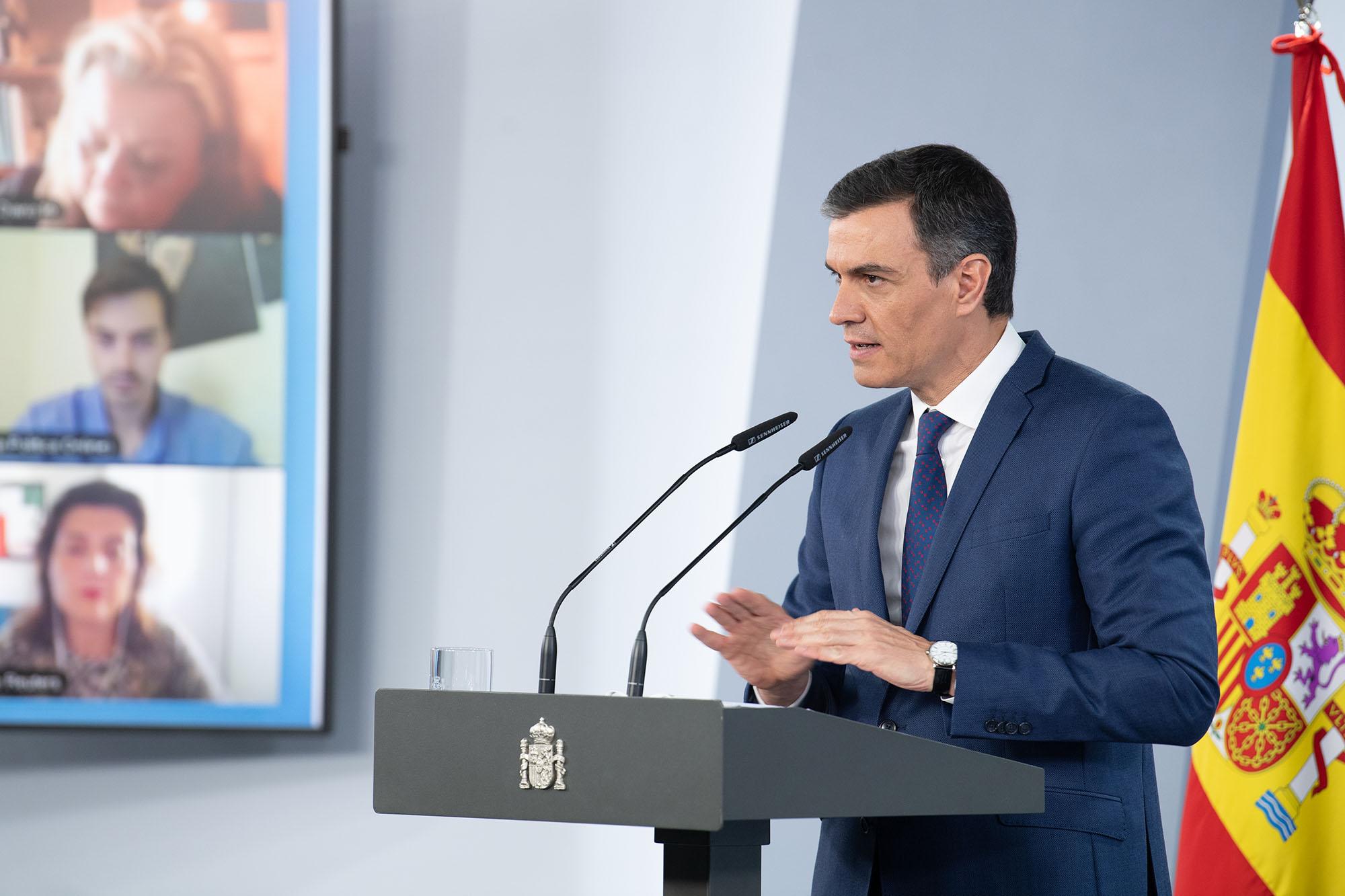 Pedro Sánchez durante su intervención ante los medios de comunicación