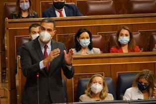 El presidente del Gobierno, Pedro Sánchez, durante una de sus intervenciones en la sesión de control al Gobierno en el Congreso