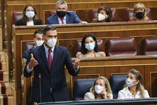 El presidente del Gobierno, Pedro Sánchez, durante una de sus intervenciones en la sesión de control en el Congreso